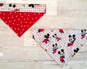 Mickey Mouse Over Collar Dog Bandana, Disney Polka Dot Pet Scarf, Reversible