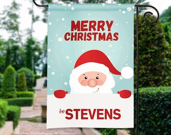 Peeking Santa Claus Tree Personalized Christmas Holiday Garden Flag Yard Sign Banner Decor Decoration Personalize with your Family Name