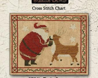 Santa | Christmas | Primitive | Cross Stitch Chart | Downloadable PDF | EPattern | Needlework | DIY | Crafts | Tis the Season | XS041