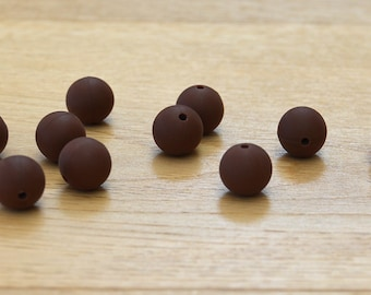 Chocolate//Chocolate brown 15mm Round Silicone beads, 10 pack