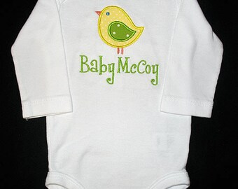 Custom Personalized Applique BIRD and NAME Bodysuit or Shirt - Yellow and Lime Green