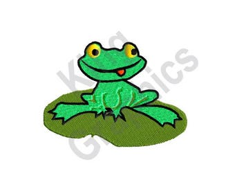 Frog - Machine Embroidery Design, Lilly Pad