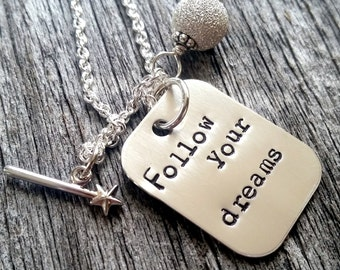 Follow Your Dreams Necklace - Dream Necklace - Graduation Gift For Her - Necklace - Graduation Jewelry - Retirement Gift For friend