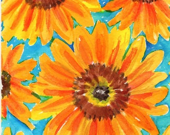 Watercolor Painting - Original sunflowers Watercolor Painting,  5 x 7