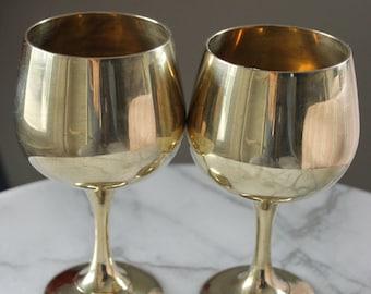 Pair of Vintage Brass Goblet - vintage metal; vintage brass; solid brass, vintage decor, goblet; candleholder; repurpose