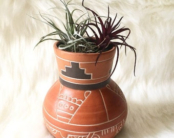 Small Vintage Ceramic Aztec Vase / Planter