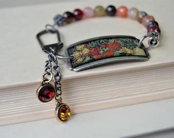 MIXED JASPER BEADS Red and Gold Floral Dog Tag Bracelet Red Gold Crystal Charms