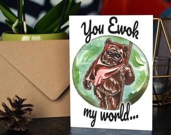 Ewok / Star Wars Handmade Greetings Card