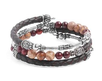 Bracelet Kit Calypso Leather Wrap Bracelet with Gemstones - Mocha
