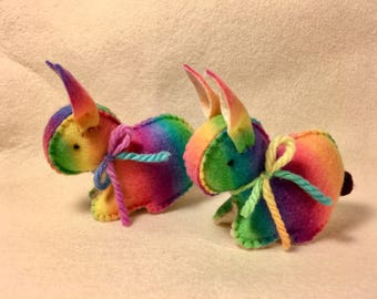 Rainbow Easter bunny rabbit Australian made - hand dyed wool felt Waldorf inspired