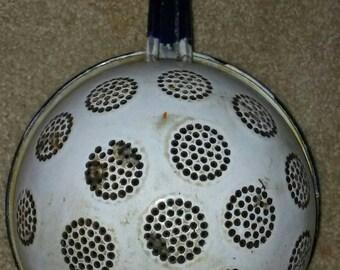 Vintage Blue & White Handled Colander Strainer