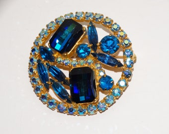 Vge Gold Tone Aurora Borealis Faceted Blue Glass Brooch/Pin