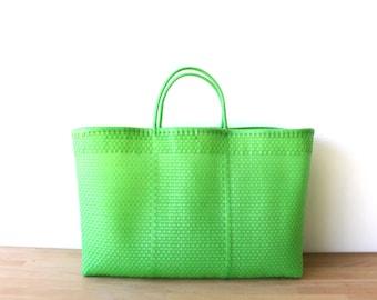 Neon Green Mexico Beach Bag, Handwoven Mexican Tote,  Beach Bag, Getaway Bag, Picnic Bag, Weekend Bag, Travel Bag, Mexican Tote Bag