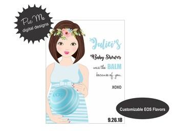 EOS Lip Balm Favors, Baby Shower Thank You, Sprinkle Favors, Custom Baby Shower Favors, EOS Lip Balm Thank You, Baby Bump EOS