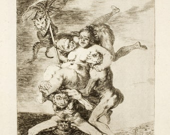 Goya Fine Art Reproductions.  The Witchcraft Caprichos - Set 4,  Nos. 65, 66, 67 - 1799 - by Francisco Goya. Set of 3 Fine Art Prints