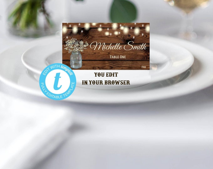 Place Card Wedding Template Rustic Printable Editable DIY You Edit Country Vintage, Editable Place Cards, Wedding PlaceCards, DIY Place Card