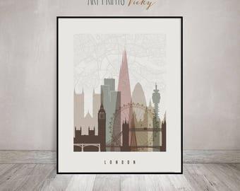 London map, London skyline, London art print, London poster, wall art, England, Great Britain, Travel gift, Home Decor, ArtPrintsVicky
