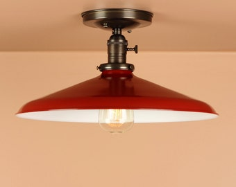 Semi Flush Lighting w/ 14 inch Red Porcelain Enamel Shade - Hand Finished Brass  - Lighting for Low Ceilings - Downrod Option