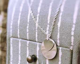 Silver Circle Hand Stamped Necklace with Heart Charm