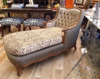 French Louis XV Chaise Lounge Chair in Zebra Animal Print
