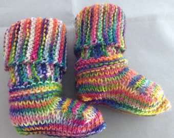 Hand knitted baby bootie 0-3 months bright and colourful merino sock yarn