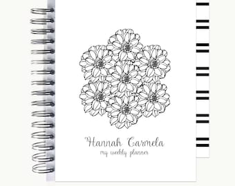 Bullet Journal – Personalized   Spiral   Dot Grid   Notebook   Bouquet BW