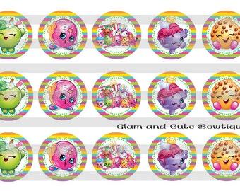 """Shopkins INSTANT DOWNLOAD Bottle Cap Images 4x6 sheet 1"""" circles"""