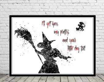 The Wizard Of Oz inspired, Wicked Witch and monkey, Wicked Witch, watercolor Halloween, Kids Room Decor, watercolor  Wicked Witch (1234b)