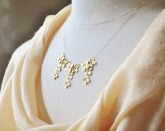 Gold Hydrangea Flowers Bib Necklace - Gold Necklace, Statement Necklace, Hydrangea Necklace, Wedding Jewelry, Jewelry for Bride