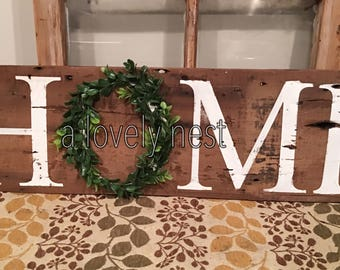 Barn wood Home sign with wreath sign with boxwood wreath rustic reclaimed