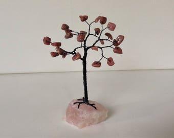 Pink & Black Gemstone Tree. Pink Tourmaline and Rose Quartz Wire Tree Sculpture. Semi-precious Crystal Tree of Life Ornament. Desk Decor