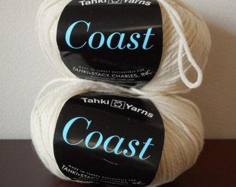 Lot of 2 destash yarn balls Tahki Yarns Coast natural undyed wool cotton