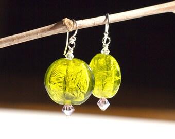 Lime Green Earrings Venetian Glass Foil Purple Swaroski Sterling Silver Chunky Statement Dangle