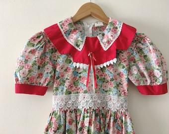 Vintage Floral Print Dress - Size 8 girls
