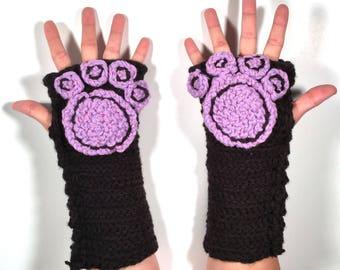 Paw Specialty Fingerless Gloves - cat - dog - animal - cosplay - furry - men - women - winter wear - black - lavender - goth