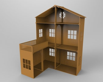 Barbie House -  great dollhouse for barbie / Barbie Scale Doll house / cnc laser cutting file / Vector model for laser cut