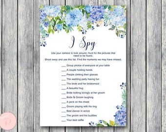 I Spy Wedding Scavenger Game, Hydrangea Wedding Game Printable, Wedding Scavenger Printable, Printable Game TH84 z