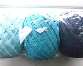 set of 3 balls of RAFFIA - 3 colors - shades of blue gradient REF.95934