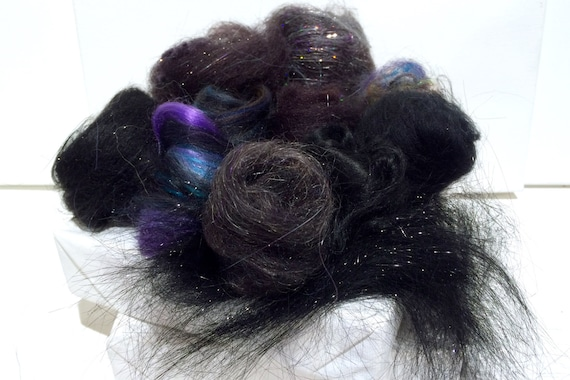 Black Fiber Art kit Sampler, wool, Black Angelina firestar glitz, Needle Wet Felting Spinning, black palette, mini batt, Black roving, 1 oz