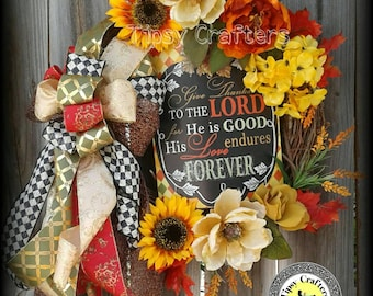 Fall Wreath - Give Thaks to the Lord
