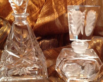 Beautiful Vintage Triangular And Octagon Lead Crystal Perfume Bottles