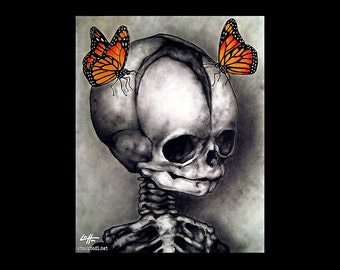 """Print 8x10"""" - There is still some life left - Skull Skeleton Butterflies Dark Art Still Life Macabre Horror Gothic Fantasy Surral Haunted"""