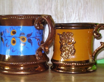 Two Victorian Copper Lustre Mugs Antique Pottery  Luster Ware