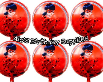 6 Pc Miraculous Ladybug Balloons Party Birthday Supplies