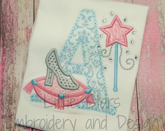 Glass Slipper with Initial - Appliqued and Personalized Shirt