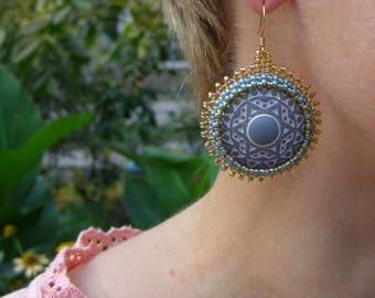 Blue boho earrings for women african gifts beaded earrings turquoise beadwork earrings round large Oriental earrings afro hypoallergenic