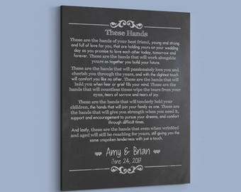 Personalized Irish Wedding Gift for Couple, Wedding Vows Canvas - These are the Hands - Celtic Handfasting Keepsake - Anniversary Gift.