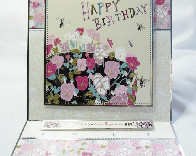 Floral Birthday Card, Greeting Card, Easel Card, Pink Silver and Cream, Female, Any Age, Mum, Sister, Daughter, Niece, Aunt, Friend