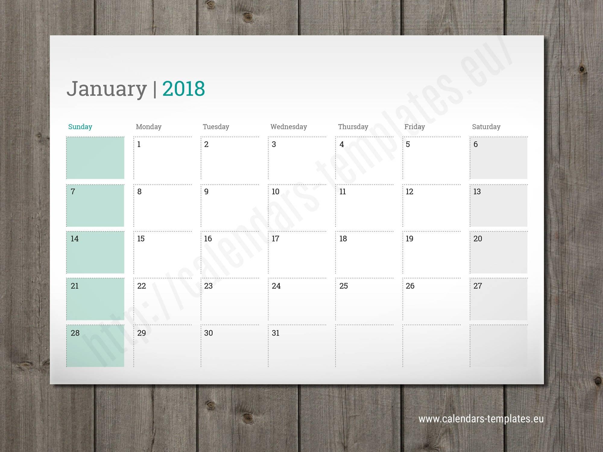 Weekly Calendar Indesign Template : Monthly wall or desk planner agenda template calendar
