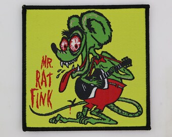 "PATCH - Mr. Rat Fink - Big Daddy Ed Roth - Hot Rod, Kustom Kulture.  Woven, iron-on - BIG 4x4"""